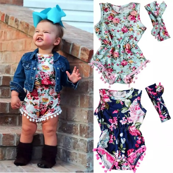 Other - Floral Romper with Matching Head Band